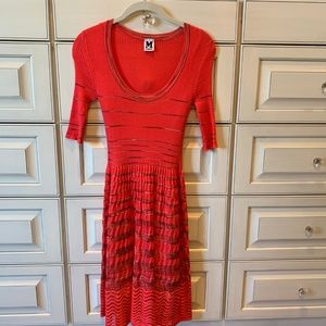 MISSONI - Short Sleeve Coral Knit Dress - Size 4